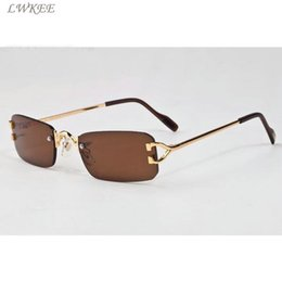 7d093ef750b 2018 vintage brand sunglasses rimless polarized glasses cheap womens  eyeglasses gold silver metal frame buffalo horn glasses with box