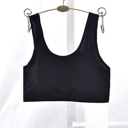 Ice Silk Strap NZ - Women Sports Yoga Bras Seamless Racerback Bra Women Elastic Breathable Shakeproof Gym Fitness Tank Top Vest For Padded Ice silk Underwear