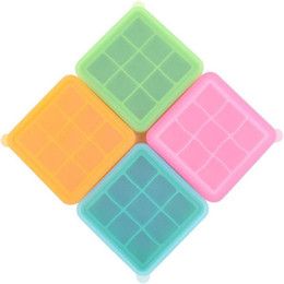 China Ice cube tray silicone square ice blocks mold baby feeding storage box bins 270ml bpa free reusable candy color wine bar cooler jelly mould suppliers