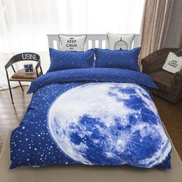 blue moon beds 2019 - Wholesale- 2016 fashion moon bedding set queen size duvet cover bed sheet pillow cases 4pcs bed linen set,brushed,comfor