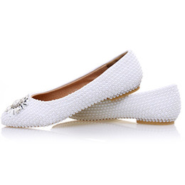 pearl flats NZ - 2017 White Pearl Flat Heels Wedding Shoes Comfortable Bridesmaid Shoes Bride Formal Dress Flats Party Prom Dancing Shoes
