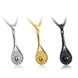 $enCountryForm.capitalKeyWord UK - Stainless Steel Smashing Tennis Racket and Ball Pendant Necklace Sports Fan Player Necklace Fashion Jewelry