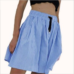 Drapé Rayé Pas Cher-Solid Sky Blue Striped Draice Bandage Ceinture Pocket Skirt Drawstring Ball Gown Jupe Femmes Russes Summer Bottoms