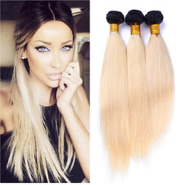ombre hair prices Canada - 8A Ombre 613 Brazilian Virgin Hair 3 Bundles Straight Platinum Blonde Dark Roots Ombre Human Hair Extension Wholesale Price Remy Hair