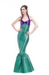 Traje Verde De Sirena Para Adultos Baratos-Nueva sexy verde púrpura Sirena Adultos Princesa Womens Halloween Cosplay traje Fancy Club Party falda larga cola al por mayor PS024