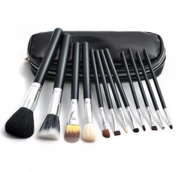 Chinese  Makeup brushes set M Brand 12pcs Eyeshadow blusher brushes Makeup tools Professional Brush +leather bag with Free Ship + Free Gift manufacturers
