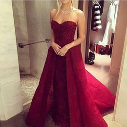 $enCountryForm.capitalKeyWord Canada - Burgundy Sweetheart Sheath Evening Dresses 2020 New Full Lace Sequins Zipper Back Long Prom Dresses With Overskirts Celebrity Dresses