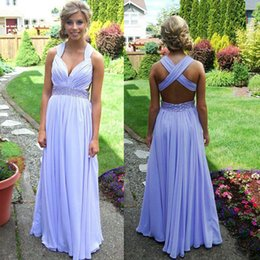 Barato Requintados Vestidos Sexy-Cheap Sexy Prom Dresses A Line Ruched Chiffon Criss Cross Backless Exquisite Beaded Waist Andar Comprimento Formal Party Gowns