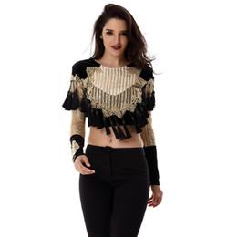 Beaded Jackets Women Canada - New Women Basic Coats Luxury Gold black Beaded Long Sleeve Tassels mesh sequins O neck Celebrity Runway Jacket Velvet Coats