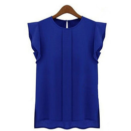 Chinese  Wholesale- 1Pc Womens Female Shirt Clothing Summer Lady Shirt New Fashion Ruffle Short Sleeve OL Female T-shirt Women Shirt manufacturers