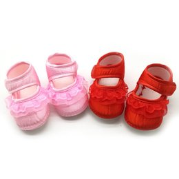 Barato Sapatos Prewalker Grossista-Atacado- White Bowknot Baby Girl Lace Shoes Toddler Prewalker Anti-Slip Shoe Sapatos de bebê simples