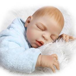 Boys Toy Dolls NZ - Silicone Reborn Babies Boy 23 Inch Full Silicone Vinyl Doll Realistic Newborn Baby Doll Can Lying And Sitting