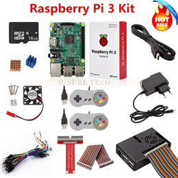 adapter boards Canada - Freeshipping Raspberry Pi 3 B Board+16G SD Card +Power Adapter +Game Controller+HDMI Cable+Case+ Heat Sink+GPIO Cable+ GPIO Boaed+ Mini Fan