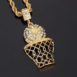 Wholesale New Fashion Hip Hop Retro Gold Basket Hoop Ball Basketball Pendant Necklace Zirconia European And American Men And Women Gift