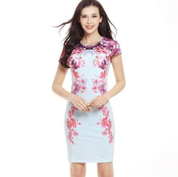 floral print knee length tops Australia - Women 's Sexy Slim Print Dress Short Sleeve Tight Top Bracelet Skirt Work office casual dress Retro robe slim casual wear G43