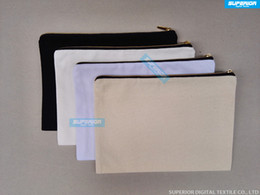 blank zipper bag NZ - 70pcs lot 12oz White Cotton Canvas Cosmetic Bag With Nylon Gold Zip Plain Unisex Coin Purse Blank Makeup Bag With Match Color Lining 7x10in