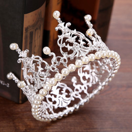 Discount crystal wreath - New Fashion High Quality Exquisite Crystal Bridal Pearl Crown 2017 For Women Pageant Prom Tiaras Hair Jewelry Accessorie