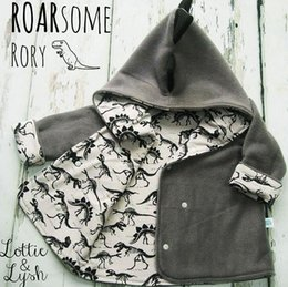 Garçon À Capuchon De Dinosaure Pas Cher-New Autumn Winter Baby Boys Coat Kids Cartoon Dinosaur imprimé à capuche Outwear Jacket Coton Fleece Enfant Coats Grey 3025