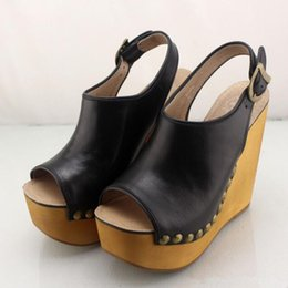 Clogs Leather Canada - Jeffrey Campbell Open Toe Platform Wedge Sandals Snick Studded high-heeled sandals genuine leather vintage rivet sandals clogs female