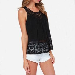 Blouses Blouses T Shirt Pas Cher-Hot Ladies Lace Tank Tops Sexy Sleeveless T-shirts Veste Summer Blouse Tees Retour Split Blouses Blanches Femmes Vêtements Plus Size DHL gratuit