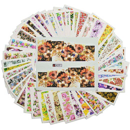 flower stickers wholesale Australia - STZ 48 Sheets set Nail Full Cover Water Decals Transfer Nail Sticker Wraps Colorful Flowers Design Temporary Tattoos A049-096
