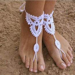 $enCountryForm.capitalKeyWord Australia - Crochet Barefoot Sandals Beach Wedding Bridal Anklet Foot Jewelry Bracelet Manual Knitting Cotton Anklets Beach Foot Ornaments