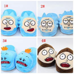 Barato Sapatos Quentes E Macios-Rick e Morty Plush Slippers Rick e Morty Soft Warm Household Chinelos de Inverno para mulheres homens grandes crianças Shoes 28cm KKA3223