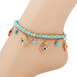 1ed8187b43f2 Bohemian Blue Beads Sexy pie cadena tobilleras para las mujeres Gold color  cadena sandalias descalzo pie de la joyería Amor Rose flor playa Tobillo  Pulseras