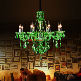 modern crystals Australia - modern living room bar crystal chandeliers European Green Crystal Chandelier Candle Lamp Room Ktv Hotel Restaurant Colored Glass Chandeliers