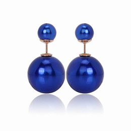$enCountryForm.capitalKeyWord UK - Trendy Double Simulated Pearl Stud Earrings Fashion Multi Candy Color Dual Ball Stud Earrings Women Fashion Jewelry