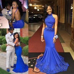 Two piece fishTail prom dress online shopping - 2019 Royal Blue Mermaid Halter Backless Prom Formal Dresses Sexy African Beaded Applique Full length Fishtail Cheap Occasion Evening Wear