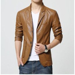 $enCountryForm.capitalKeyWord Canada - Brand Men's Blazer Jacket Men Soft PU Leather Coat Male Fashion Khaki Blazer Masculino Slim Fit Suit Style Casual Blazers