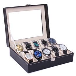$enCountryForm.capitalKeyWord Canada - Fashion High Quality Pu Leather 10 Grids Watch Box Jewelry Storage Case Watch Organizer Display Men Women's Watch Gift Box