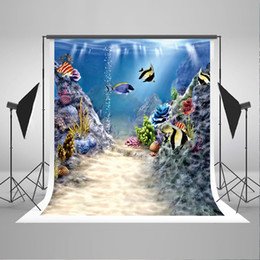 paint muslin backdrop Canada - 5x7ft(150x220cm) Custom Underwater World Photography Background Colorful Fish Photo Backdrop Sea Backdrops for Baby Photographic