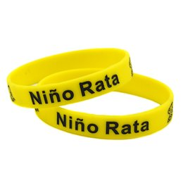 Wholesale yellow mice resale online - 100PCS Ink Filled Logo Nino Rata With Cute Mouse Silicone Rubber Bracelet for Promotion Gift Yellow