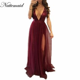 Robe De Sequin Rouge En Gros Pas Cher-Vente en gros - 2017 New Year Sexy Women Robe rouge Fashion Brand new Maxi longue maille Robes vintage Longueur de plancher sequís Vestidos