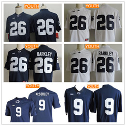 3233e77da Youth Penn State Nittany Lions Big 10  26 Saquon Barkley 9 Trace McSorley No  Name Navy Blue White College Football Stitched Jerseys S-XL ...