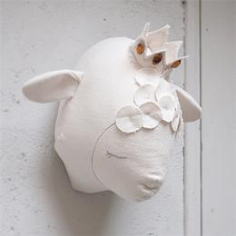 3D овец головы настенные головы животных стены стикеры для детей номеров животных детская комната украшения аксессуары мягкие игрушки подарки детям