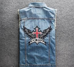 $enCountryForm.capitalKeyWord Canada - Men's Blue Biker Denim Vest God Speed Religion Cross Wing Patches Stand Collar Motorcycle Club Vest Vintage Sleeveless Jacket