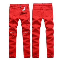 Barato Capris Skinny Homens-Atacado- Men Hole Jeans Especial Red Biker Moda Zipper Design Lápis Calças Rasgadas Denim Jeans Night Club Casual Slim Skinny