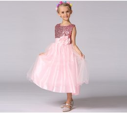 Discount kids black floral dresses - 3-9Y sequins Girl Dresses Floral Ball Gown Clothing For Girls Clothes Children Christmas Princess Summer Girl Party Dres