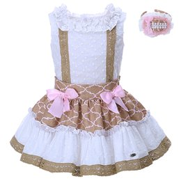 China Pettigirl 2-8Y Girl White Jacquard Sleeveless Tops With Brown Lace Patchwork Color Skirt With Pink Bow Kid Cotton Clothing G-DMCS001-1308 suppliers