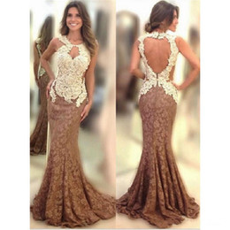 Barato Marrom Marfim Vestidos De Noite-Vintage Brown and Ivory Lace Prom Dresses Elegante Jewel Backless Mermaid Evening Gowns Custom Made Special Occasion Dress