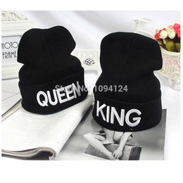 Elastic Beanie Hat Canada - 3D Letter KING QUEEN Beanies Winter Warm Hats Hip Hop Adult Beanie Elastic beanie Lover winter Hats Justin Bieber Cap Top Quality