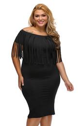 $enCountryForm.capitalKeyWord Canada - Off Shoulder Dress Sexy Club Robes Femme Black Rosy Short Sleeve Fringe Top Strecth Plus Size 3XL Bodycon Dress
