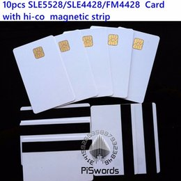 Discount blank smart cards - Wholesale- 10pcs lot SLE5528 SLE4428 with hi-co hico magnetic strip compatible fm4428 ISO 7816 smartcard secure blank sm