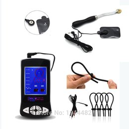 Barato Anel De Galo De Massagem De Pénis-Electro Shock Kit Extensão de pênis Cock Ring Estim Roda de engrenagem Massagem Pads Sex Toy For Men Mulheres Electric Set Electrical