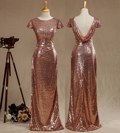 $enCountryForm.capitalKeyWord NZ - Real Pictures Rose Gold Sequined Bridesmaid dress Cap Sleeves Luxury Sequined Evening Dress Scoop Neck Metallic Sparkle Prom dress Cowl