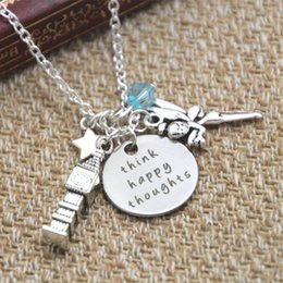 Happy days plates online shopping - 12pcs Peter Pan Inspired Peter Pan Think Happy Thoughts crystals for women or girls Necklace