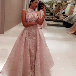 $enCountryForm.capitalKeyWord Australia - Full Lace Mermaid Evening Dress With Over-Skirts Fashion Pink High Neck Sleeveless Prom Dresses Sexy See Through Formal Dresses Party Gowns